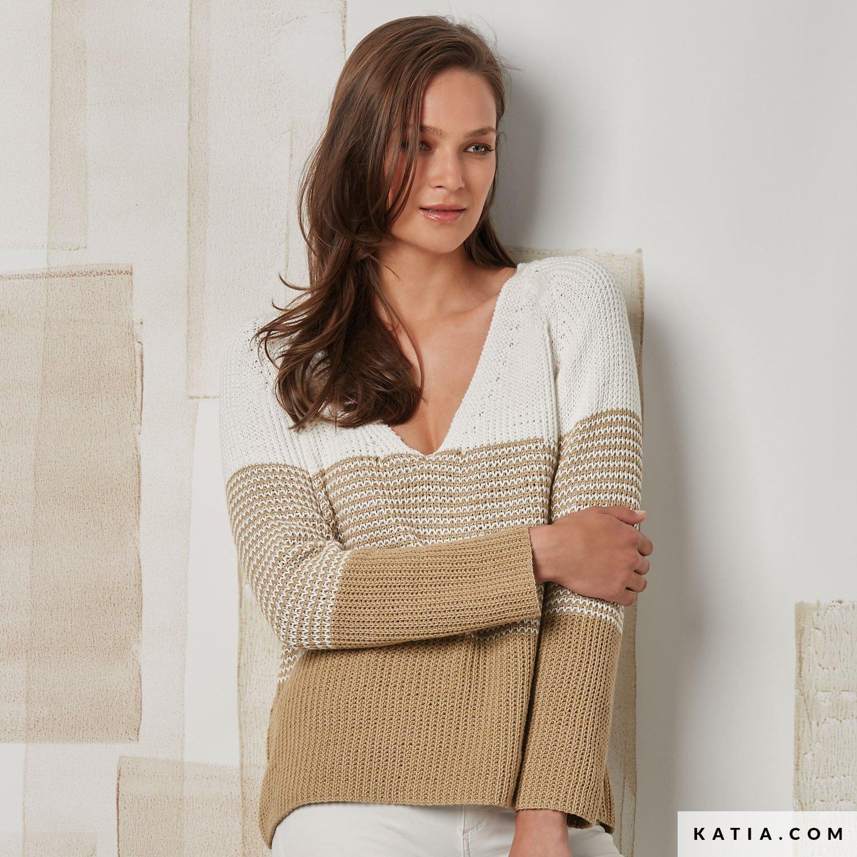 ccb40e644614a patron tricoter tricot crochet femme pull printemps ete katia 6072 50 g