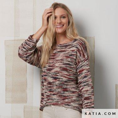 patroon breien haken dames trui lente zomer katia 6072 32 p