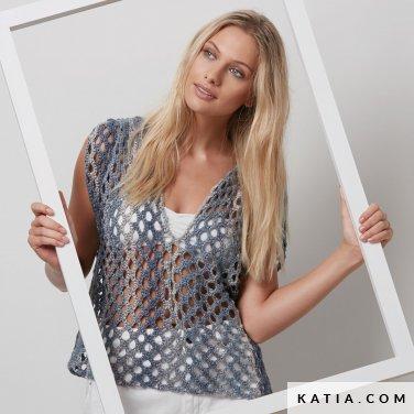 pattern knit crochet woman top spring summer katia 6072 12 p