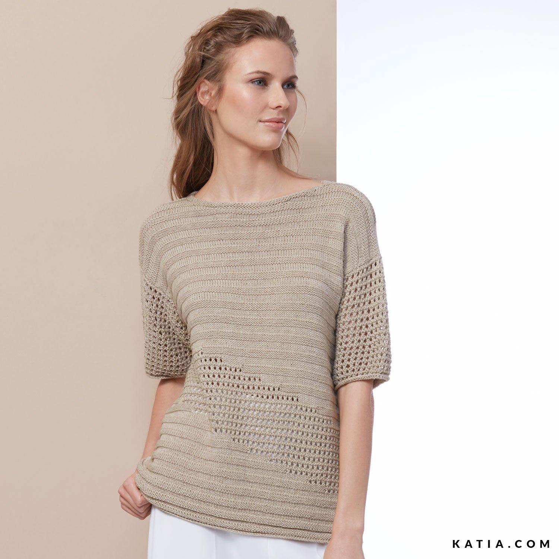 Anleit Pullover Sommer Modelleamp; Frühjahr Damen R4L5Aj