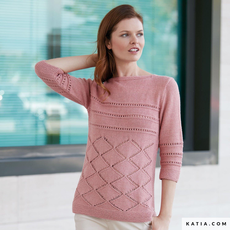 9054d462028 patron tricoter tricot crochet femme pull printemps ete katia 6074 34 g