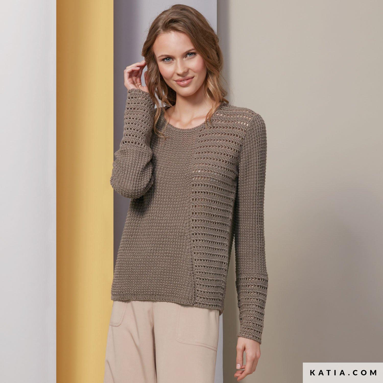 3b72edc45a14c patron tricoter tricot crochet femme pull printemps ete katia 6074 6 g