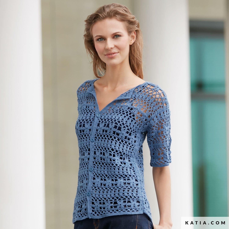 ec70b704cd07d patron tricoter tricot crochet femme veste printemps ete katia 6074 16 g