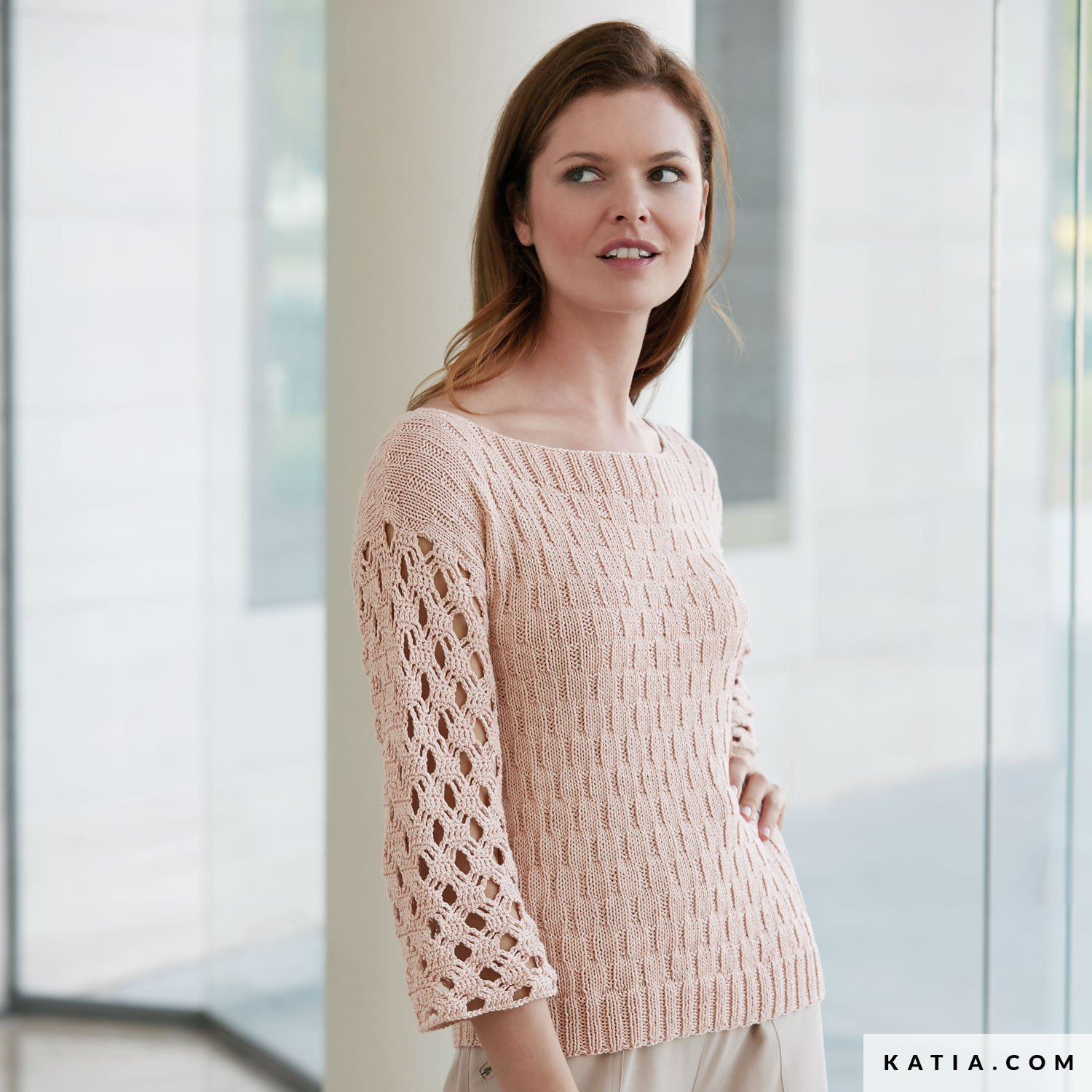 e1de33036 pattern knit crochet woman sweater spring summer katia 6074 36 g
