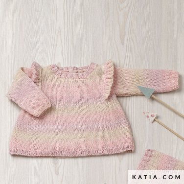 pattern knit crochet baby dress autumn winter katia 6090 29 p