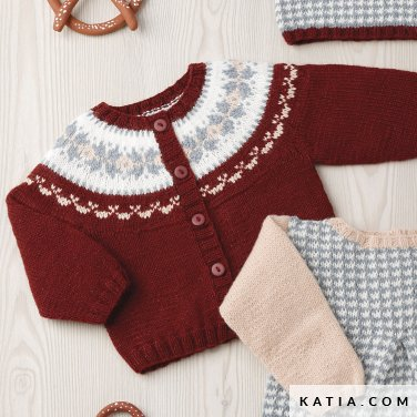 pattern knit crochet baby jacket autumn winter katia 6090 45 p