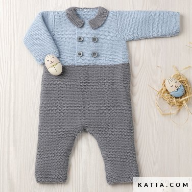 pattern knit crochet baby onesie autumn winter katia 6090 3 p