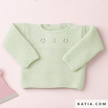 pattern knit crochet baby sweater autumn winter katia 6090 11 p