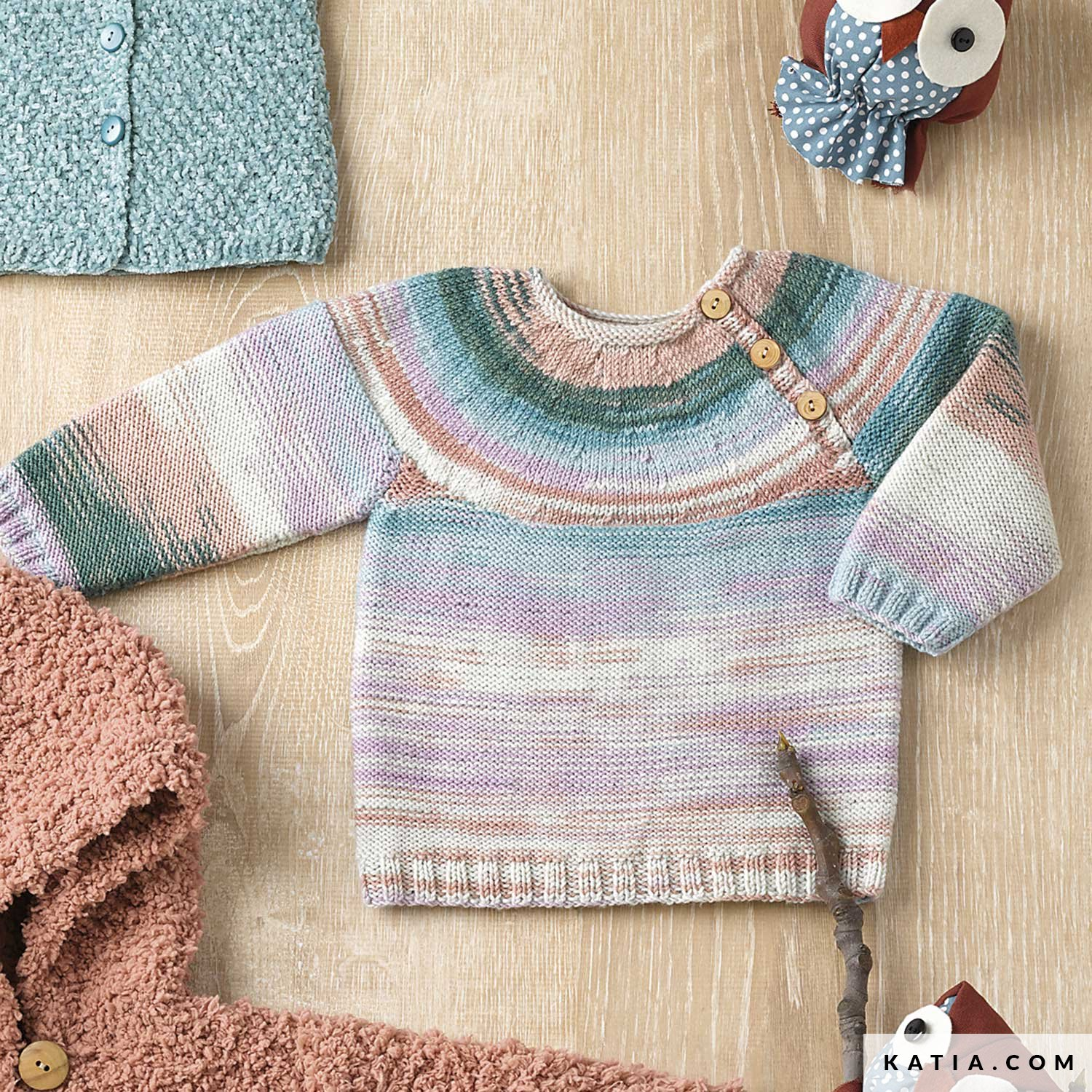 9f54f23046026 pattern knit crochet baby sweater autumn winter katia 6090 21 g