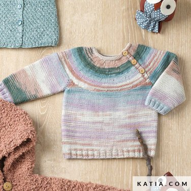 pattern knit crochet baby sweater autumn winter katia 6090 21 p