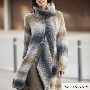pattern knit crochet woman coat autumn winter katia 6092 24 p