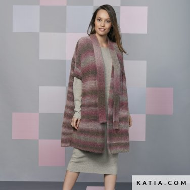 pattern knit crochet woman coat autumn winter katia 6092 30 p