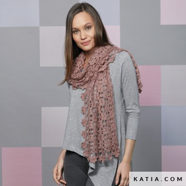 pattern knit crochet woman foulard scarf autumn winter katia 6092 38 p