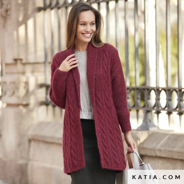 pattern knit crochet woman jacket autumn winter katia 6092 12 p