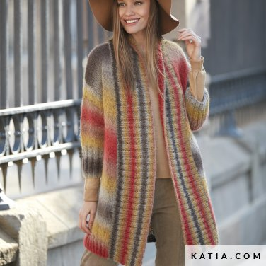 pattern knit crochet woman jacket autumn winter katia 6092 14 p