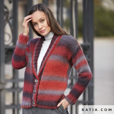 pattern knit crochet woman jacket autumn winter katia 6092 18 p