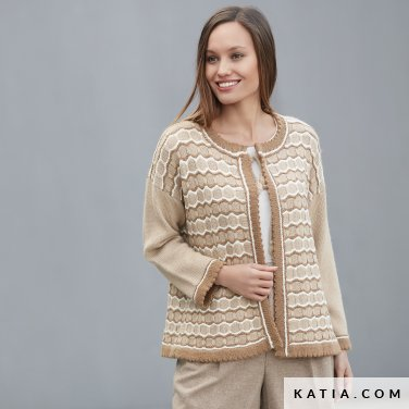 pattern knit crochet woman jacket autumn winter katia 6092 5 p