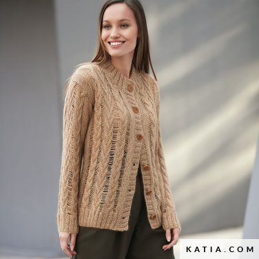 pattern knit crochet woman jacket autumn winter katia 6092 7 p