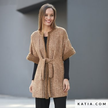 pattern knit crochet woman jacket autumn winter katia 6092 8 p