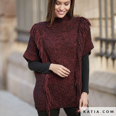 pattern knit crochet woman poncho autumn winter katia 6092 17 p