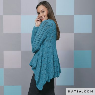 pattern knit crochet woman poncho autumn winter katia 6092 40 p