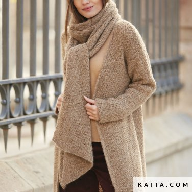 pattern knit crochet woman scarf autumn winter katia 6092 16a p