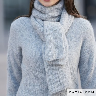 pattern knit crochet woman scarf autumn winter katia 6092 20a p