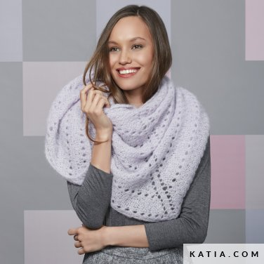 pattern knit crochet woman shawl autumn winter katia 6092 37 p