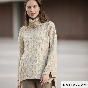 pattern knit crochet woman sweater autumn winter katia 6092 1 p
