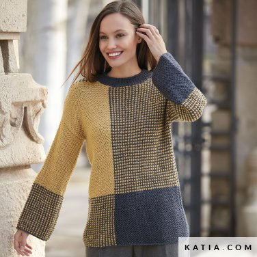 pattern knit crochet woman sweater autumn winter katia 6092 10 p