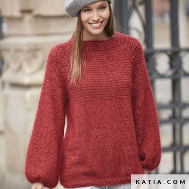 pattern knit crochet woman sweater autumn winter katia 6092 11 p
