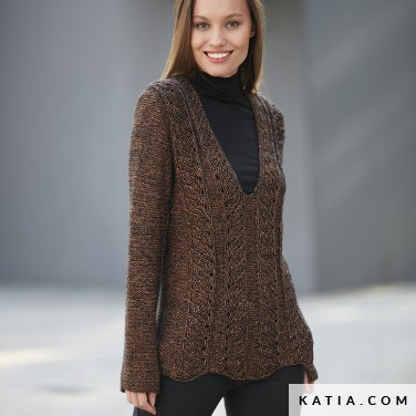pattern knit crochet woman sweater autumn winter katia 6092 13 p