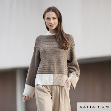 pattern knit crochet woman sweater autumn winter katia 6092 2 p