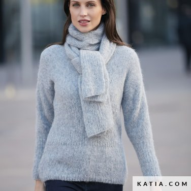 pattern knit crochet woman sweater autumn winter katia 6092 20 p