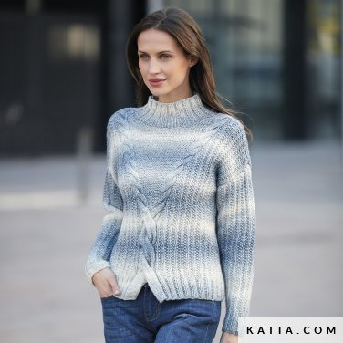 pattern knit crochet woman sweater autumn winter katia 6092 21 p