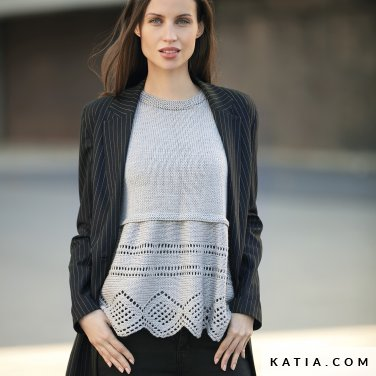 pattern knit crochet woman sweater autumn winter katia 6092 26 p