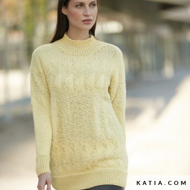 pattern knit crochet woman sweater autumn winter katia 6092 27 p