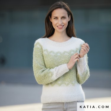 pattern knit crochet woman sweater autumn winter katia 6092 28 p