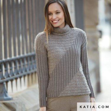 pattern knit crochet woman sweater autumn winter katia 6092 3 p