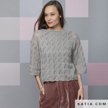 pattern knit crochet woman sweater autumn winter katia 6092 32 p