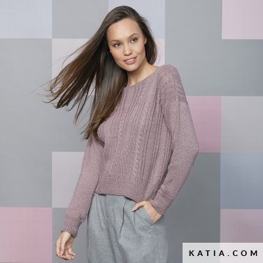 pattern knit crochet woman sweater autumn winter katia 6092 33 p