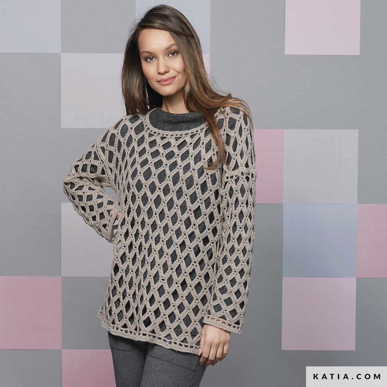 Sweater Woman Autumn Winter Models Patterns Katia Com
