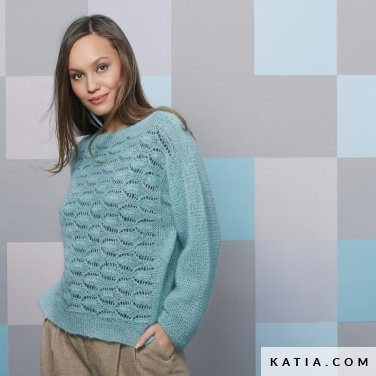 pattern knit crochet woman sweater autumn winter katia 6092 41 p