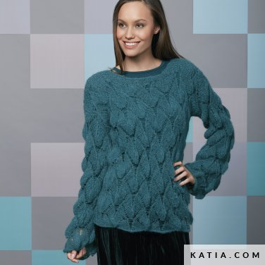 pattern knit crochet woman sweater autumn winter katia 6092 42 p
