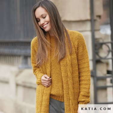 pattern knit crochet woman sweater autumn winter katia 6092 9 p