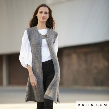 pattern knit crochet woman vest autumn winter katia 6092 25 p