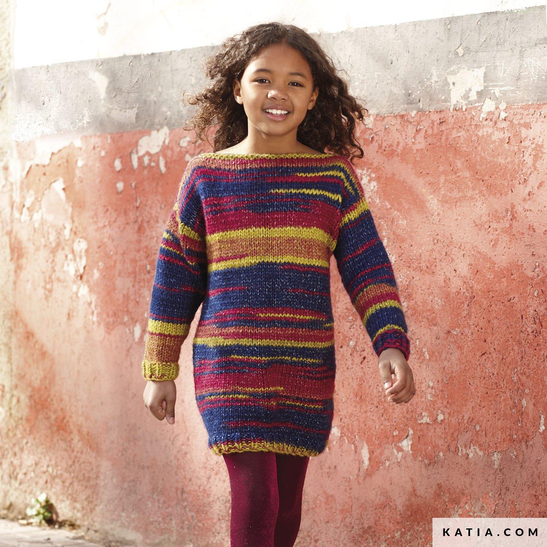 5101791e459 patron tricoter tricot crochet enfant robe automne hiver katia 6099 31 g