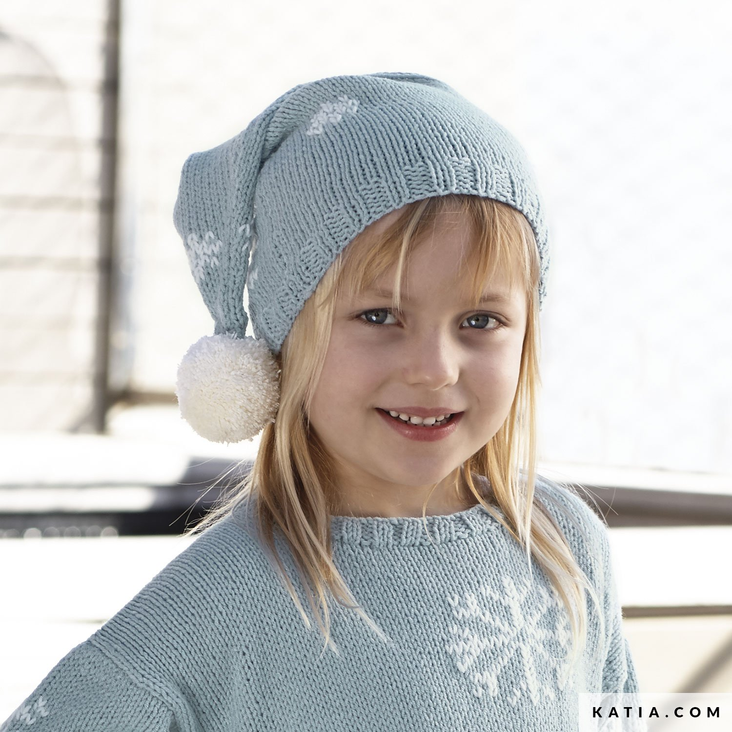 Pom pom hat in Atlantic. Patterned knit hat with pom poms bb1161dc6be