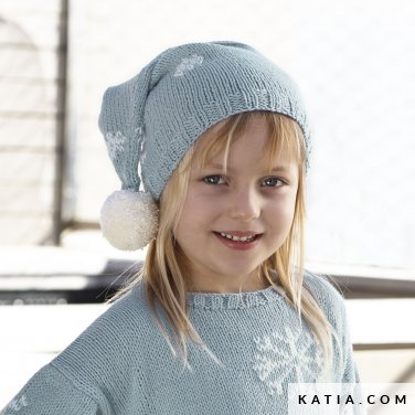 pattern knit crochet kids cap autumn winter katia 6099 5 p