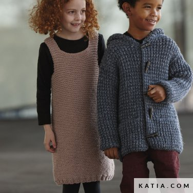 pattern knit crochet kids dress autumn winter katia 6099 18 p